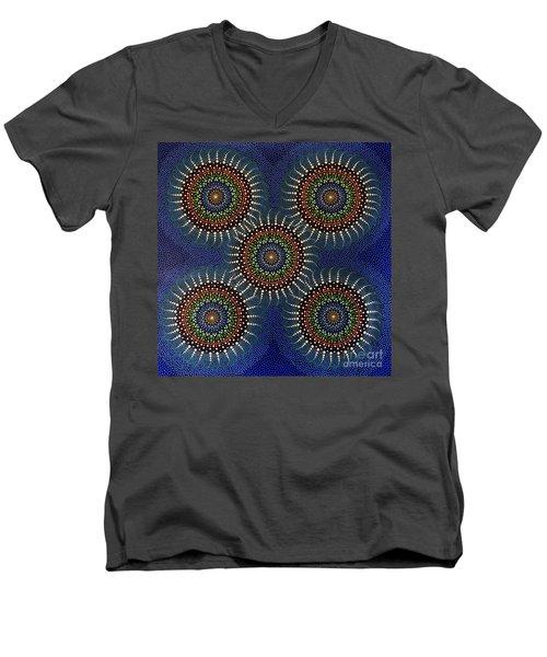 Men's V-Neck T-Shirt featuring the painting Aboriginal Inspirations 16 by Mariusz Czajkowski