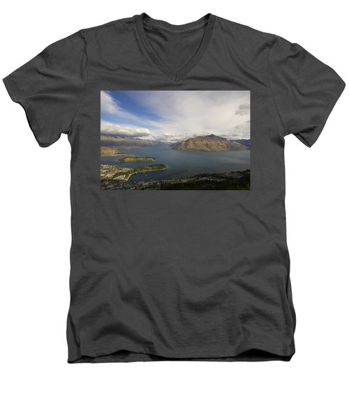 Men's V-Neck T-Shirt featuring the photograph Above Queenstown #2 by Stuart Litoff