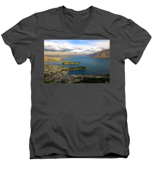 Men's V-Neck T-Shirt featuring the photograph Above Queenstown by Stuart Litoff