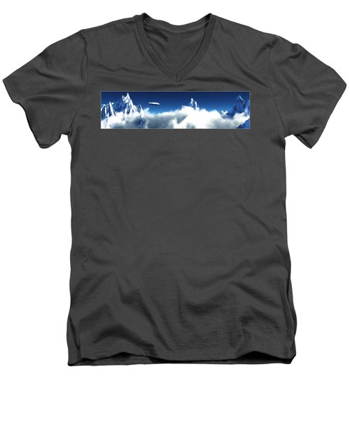 Men's V-Neck T-Shirt featuring the digital art Above The Clouds... by Tim Fillingim