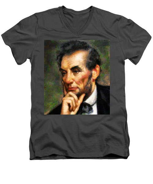 Abraham Lincoln - Abstract Realism Men's V-Neck T-Shirt
