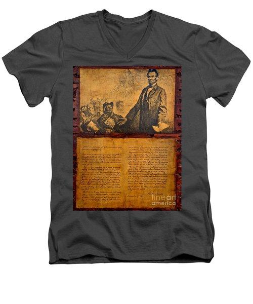 Abraham Lincoln The Gettysburg Address Men's V-Neck T-Shirt by Saundra Myles