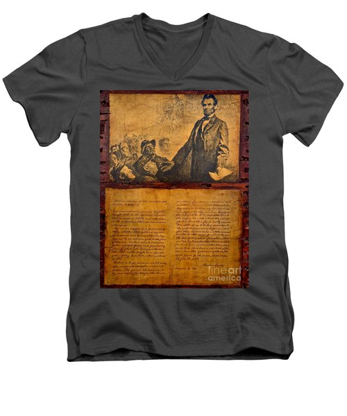 Abraham Lincoln The Gettysburg Address Men's V-Neck T-Shirt