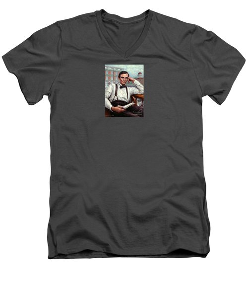 Men's V-Neck T-Shirt featuring the painting Abraham Lincoln Of Springfield Bicentennial Portrait by Jane Bucci