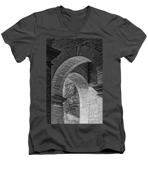 Abstract Arches Colosseum Mono Men's V-Neck T-Shirt