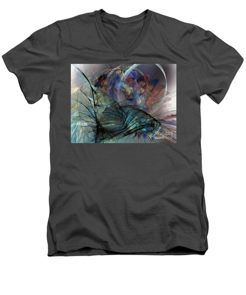 Abstract Art Print In The Mood Men's V-Neck T-Shirt by Karin Kuhlmann