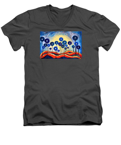 Men's V-Neck T-Shirt featuring the painting Abstract Blue Symphony  by Ramona Matei
