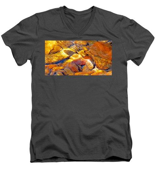 Abstract Creek Water 4 Men's V-Neck T-Shirt