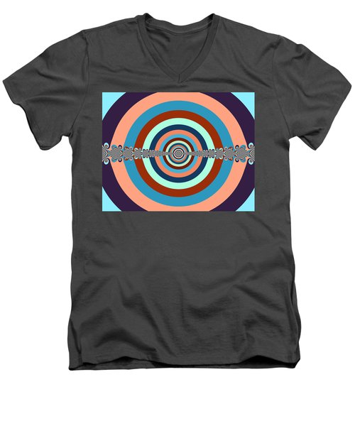 Men's V-Neck T-Shirt featuring the digital art Abstract Dart Board by Ester  Rogers