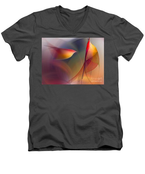 Abstract Fine Art Print Early In The Morning Men's V-Neck T-Shirt by Karin Kuhlmann