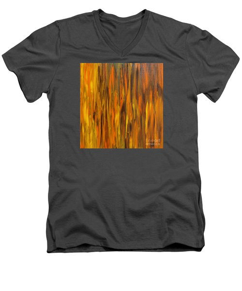 Men's V-Neck T-Shirt featuring the painting Abstract Fireside by Susan  Dimitrakopoulos