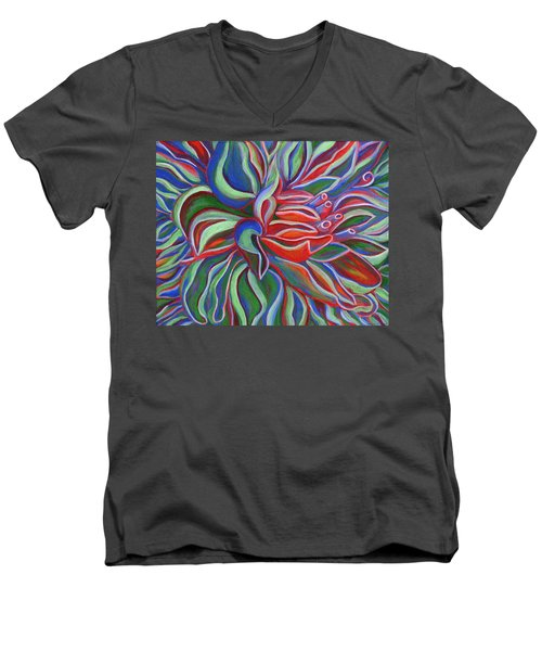 Men's V-Neck T-Shirt featuring the painting Abstract Flower by Janice Dunbar