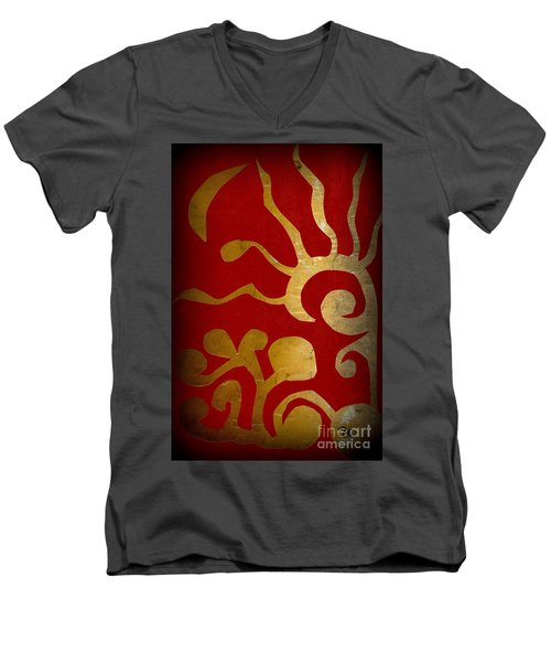 Abstract Gold Collage Men's V-Neck T-Shirt by Patricia Cleasby