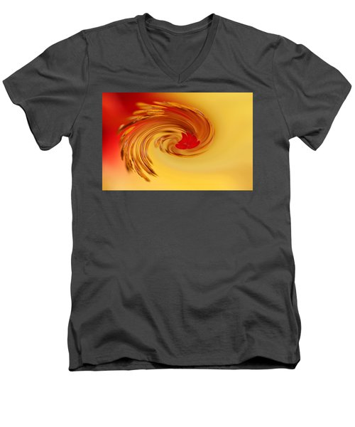 Men's V-Neck T-Shirt featuring the photograph Abstract Swirl Hibiscus Flower by Debbie Oppermann
