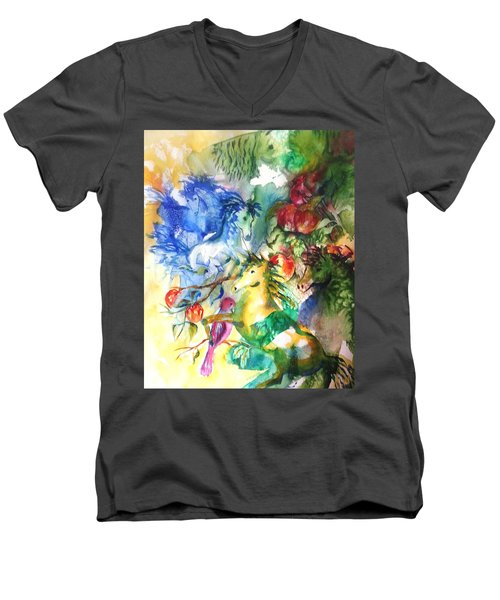 Abstract Horses Men's V-Neck T-Shirt