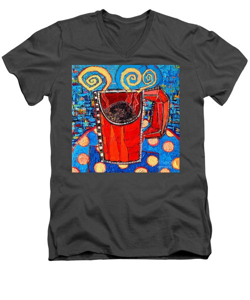 Abstract Hot Coffee In Red Mug Men's V-Neck T-Shirt by Ana Maria Edulescu
