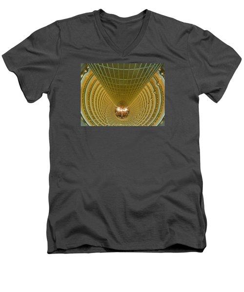 Abstract In Gold Men's V-Neck T-Shirt by Alan Socolik