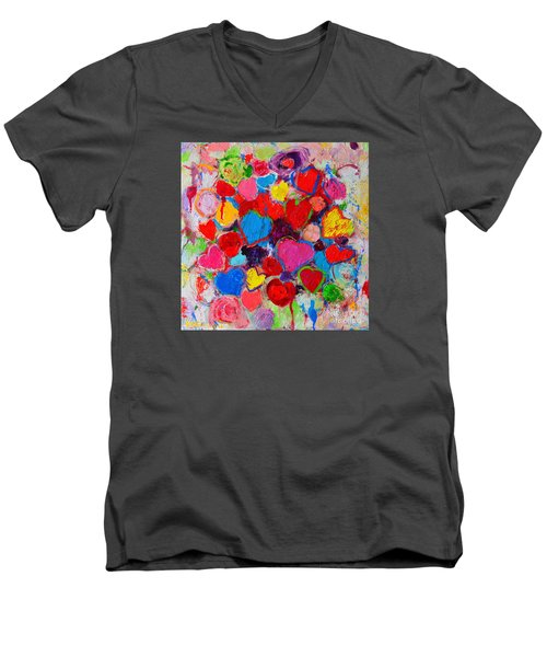 Abstract Love Bouquet Of Colorful Hearts And Flowers Men's V-Neck T-Shirt