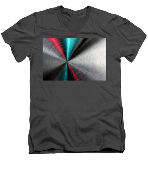 Abstract Metallic Texture With Blue And Red Ray Pattern. Men's V-Neck T-Shirt