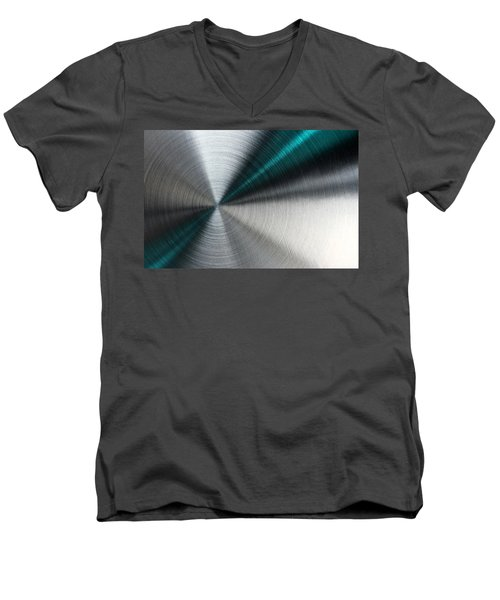 Abstract Metallic Texture With Blue Rays. Men's V-Neck T-Shirt