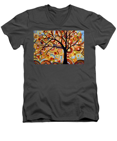 Men's V-Neck T-Shirt featuring the painting Abstract Modern Tree Landscape Thoughts Of Autumn By Amy Giacomelli by Amy Giacomelli