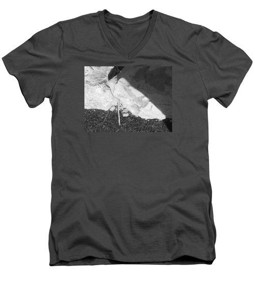 Men's V-Neck T-Shirt featuring the photograph Abstract Of Rock And Shadow by Esther Newman-Cohen