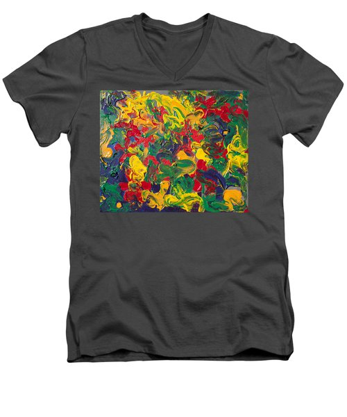 Abstract Painting - Color Explosion Men's V-Neck T-Shirt by Enzie Shahmiri