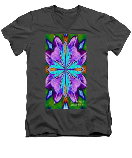 Men's V-Neck T-Shirt featuring the digital art Abstract Purple Aqua And Green by Smilin Eyes  Treasures