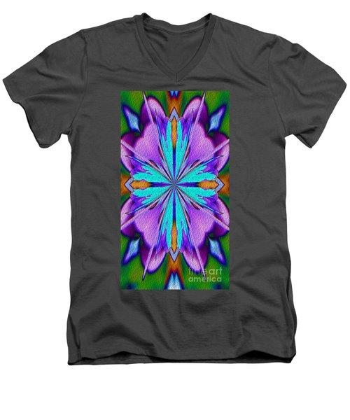 Abstract Purple Aqua And Green Men's V-Neck T-Shirt