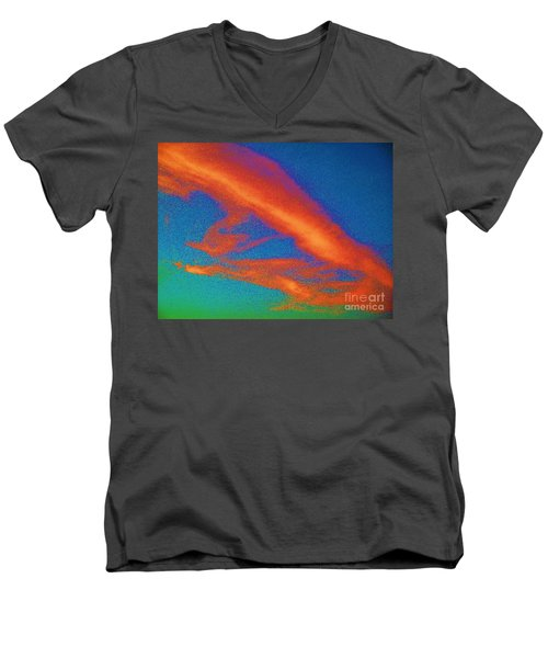 Abstract Red Blue And Green Sky Men's V-Neck T-Shirt by Eric  Schiabor