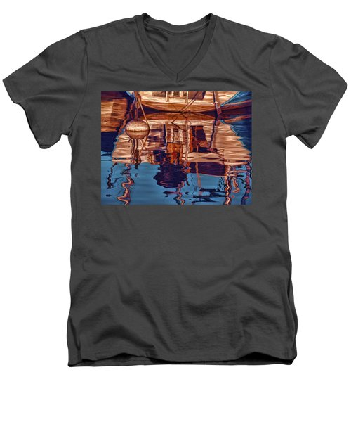 Men's V-Neck T-Shirt featuring the painting Abstract Reflections by Muhie Kanawati