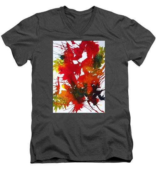 Abstract - Riot Of Fall Color II - Autumn Men's V-Neck T-Shirt by Ellen Levinson