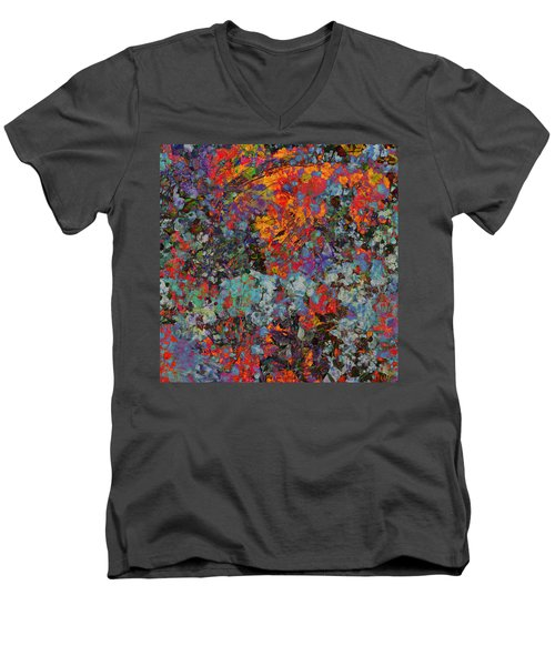Men's V-Neck T-Shirt featuring the mixed media Abstract Spring by Ally  White