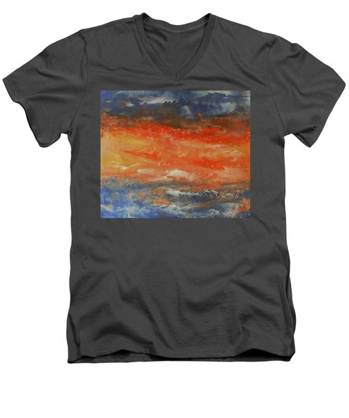 Men's V-Neck T-Shirt featuring the painting Abstract Sunset  by Jane See