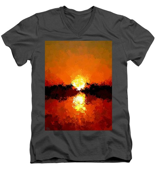 Abstract Sunset On The Sea Men's V-Neck T-Shirt
