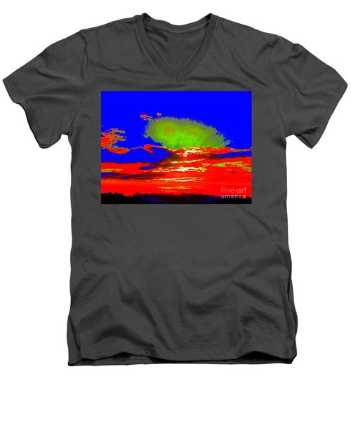 Men's V-Neck T-Shirt featuring the photograph Abstract Sunset Orange Blue Green And So On by Roberto Gagliardi