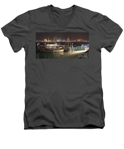 Men's V-Neck T-Shirt featuring the photograph Abu Dhabi At Night by Andrea Anderegg
