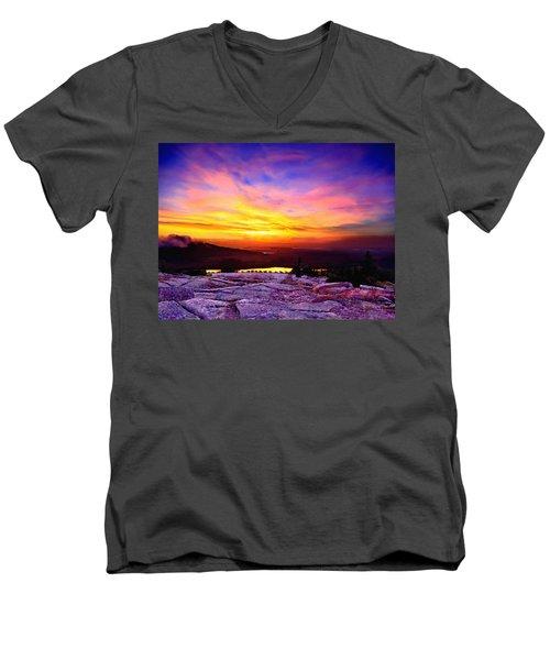 Acadia National Park Cadillac Mountain Sunrise Forsale Men's V-Neck T-Shirt by Bob and Nadine Johnston