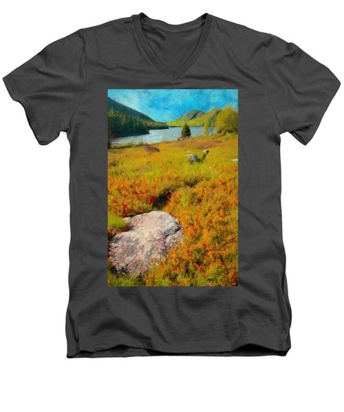 Men's V-Neck T-Shirt featuring the painting Acadia Spring by Jeff Kolker