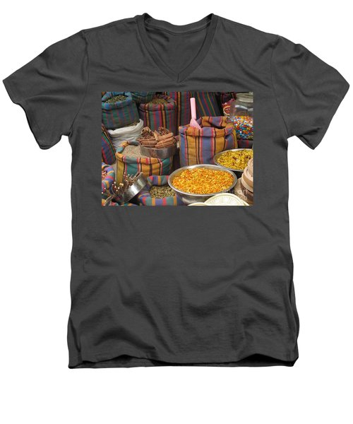 Men's V-Neck T-Shirt featuring the photograph Acco Acre Israel Shuk Market Spices Stripes Bags by Paul Fearn