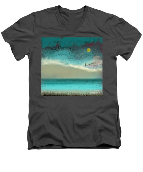 Acropolis In Moonlight Men's V-Neck T-Shirt