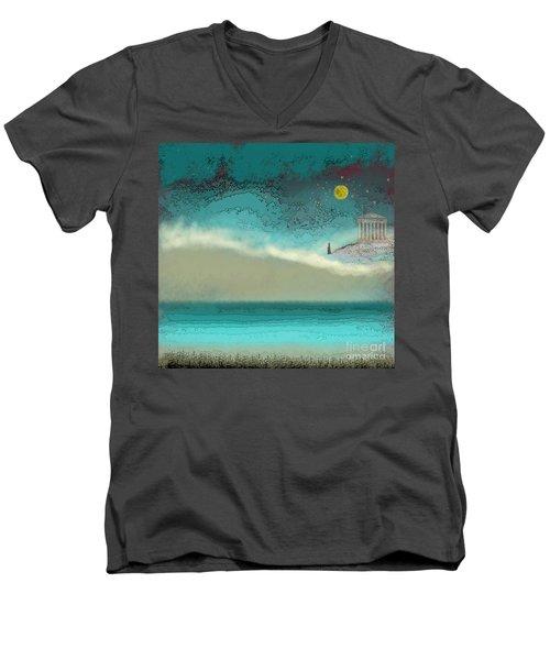 Acropolis In Moonlight Men's V-Neck T-Shirt by Carol Jacobs