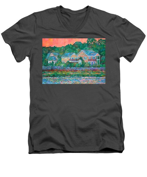 Men's V-Neck T-Shirt featuring the painting Across The Marsh At Pawleys Island       by Kendall Kessler