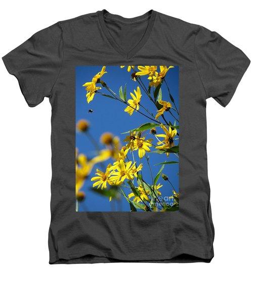 Action Men's V-Neck T-Shirt by France Laliberte