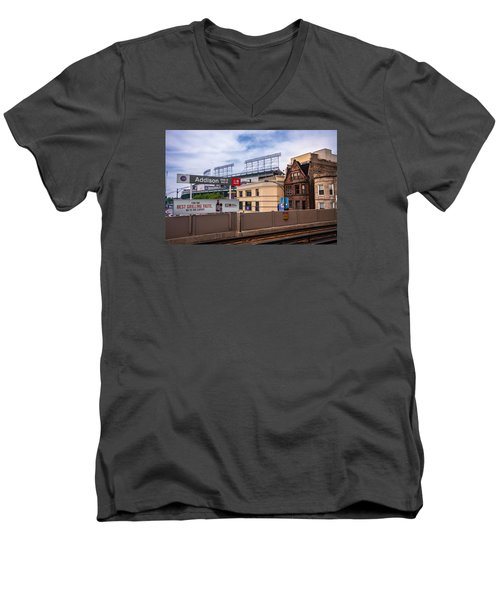 Addison Street Station Men's V-Neck T-Shirt by Tom Gort