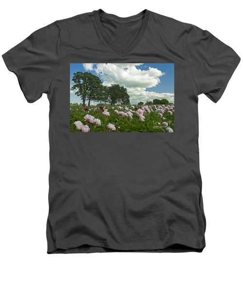 Adleman's Peony Fields Men's V-Neck T-Shirt by Nick  Boren