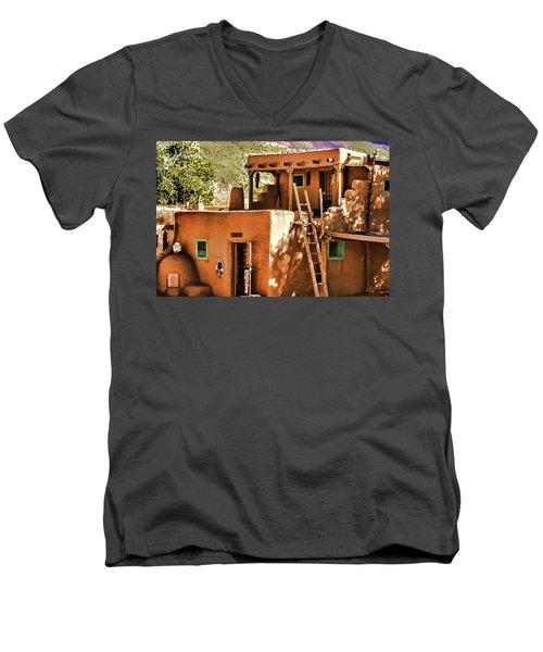 Men's V-Neck T-Shirt featuring the painting Adobe by Muhie Kanawati