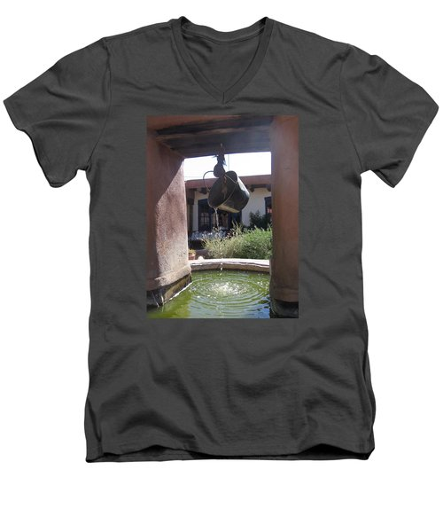 Men's V-Neck T-Shirt featuring the photograph Adobe Water Well In New Mexico by Dora Sofia Caputo Photographic Art and Design