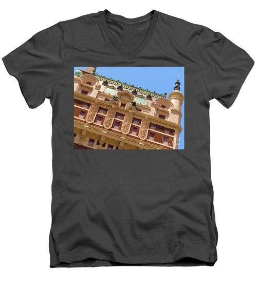 Men's V-Neck T-Shirt featuring the photograph Adolphus Hotel - Dallas #1 by Robert ONeil