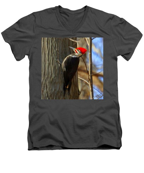 Adult Male Pileated Woodpecker Men's V-Neck T-Shirt by Bruce Nutting